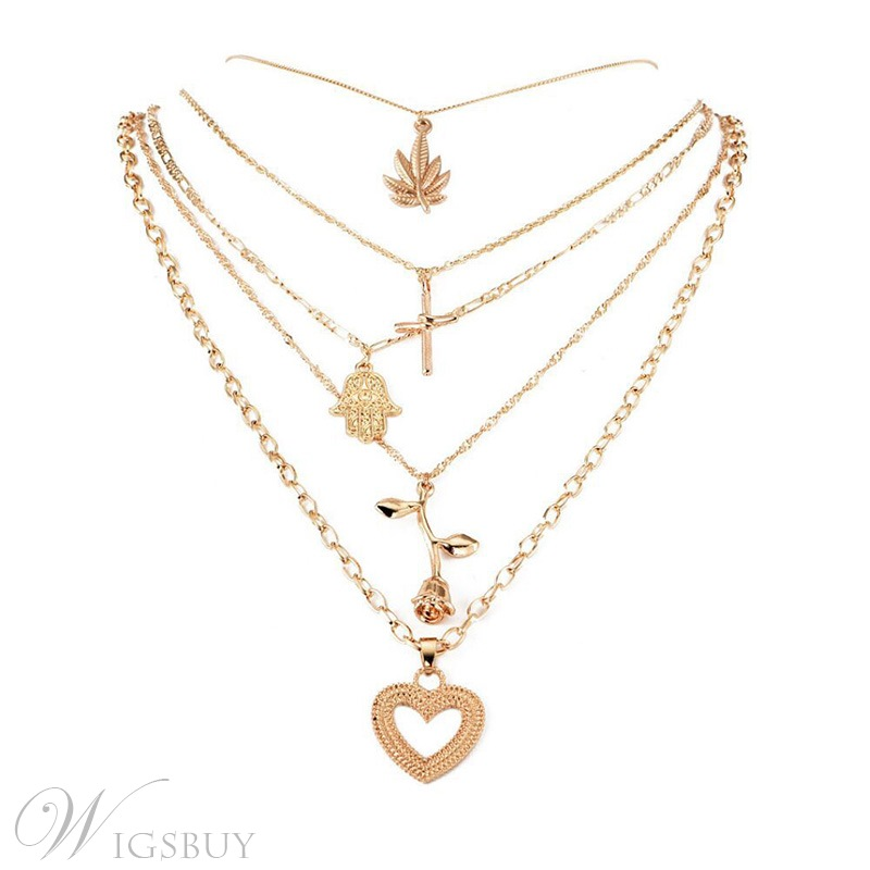 Anniversary Party Sweet Style Women's E-plating Technic Alloy Pendant Necklace