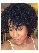 Afro Kinky Curly Women's Short Curly Hairstyles Human Hair Wigs With Bangs Lace Front Wigs 10Inch