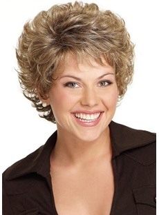 Women'S Short Shaggy Layered Hairstyles Wavy Synthetic Hair Capless Wigs With Bangs 8Inch