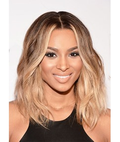Fashion Women's Medium Layered Hairstyles Wavy Human Hair Wigs Middle Part Lace Front Wigs 14Inch