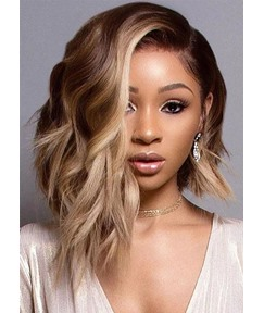 Side Part Medium Layered Hairstyles Women's Wavy Synthetic Hair Capless Wigs 12Inch