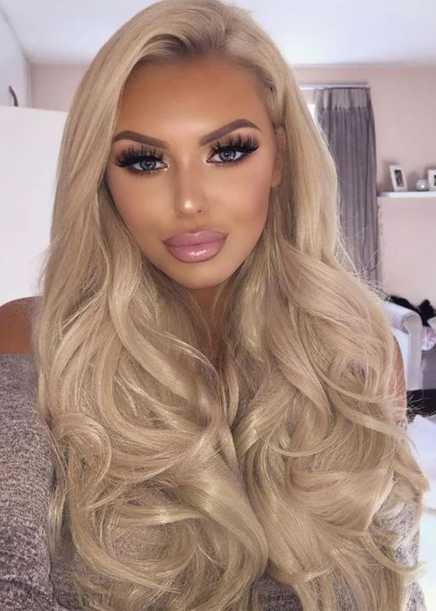 Natural Looking Women's 613 Blonde Body Wavy Synthetic Hair Wigs Side Part Capless Wigs 26Inch