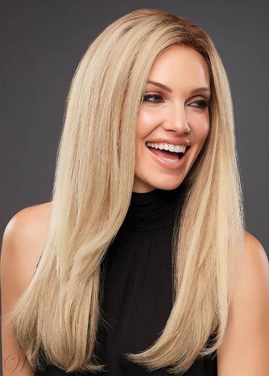 Natural Looking Women's Side Part Straight Human Hair Wigs Long Length Lace Front Wigs 24Inch