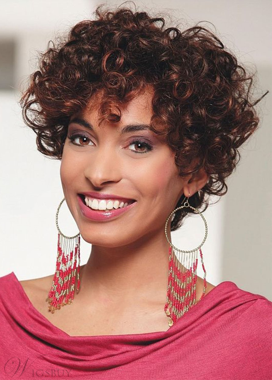 Women's Afro Kinky Curly Hairstyles Curly Human Hair Wigs With Bangs Lace Front Cap Wigs 8Inch