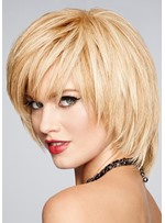 Women's Natural Looking Short Layered Cut Hairstyles Straight Synthetic Hair Capless Wigs 8Inch
