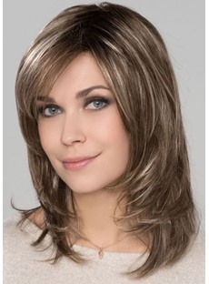 Women's Medium Length Hairstyles Natural Straight Layered Human Hair Lace Front Wigs 14Inch
