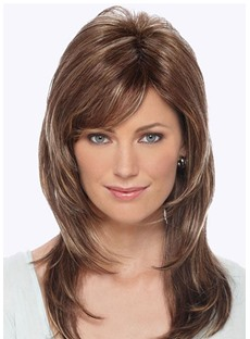 Women's Medium Shaggy Layered Hairstyles Natural Straight Human Hair Wigs Lace Front Wigs 18Inch