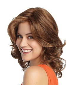 Medium Length Hairstyles Women's Loose Wavy Layered Human Hair Wigs With Bangs Lace Front Cap Wigs 16Inch