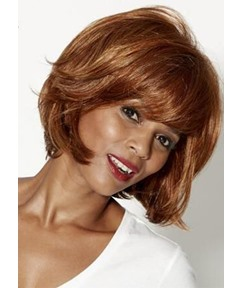 Short Bob Hairstyles Women's Natural Straight Human Hair Wigs With Bangs Lace Front Wigs 10Inch