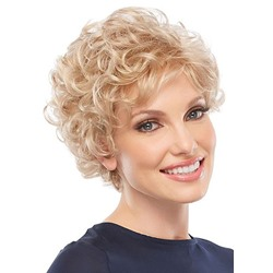 Classic Look Womens Ultra-lightweight 613 Blonde Short Curly Human Hair Lace Front Wigs 6Inch