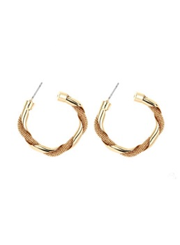 Vintage Style Adult Women/Ladies Alloy Material E-Plating Technic Hoop Earrings