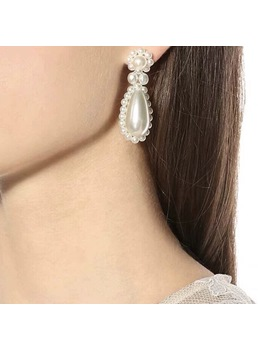 Women/Ladies Sweet Style Pearl Inlaid Water Drop Pearl Drop Earrings