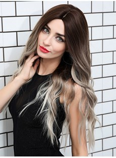 Middle Part Synthetic Hair Wavy Wig 26 Inches
