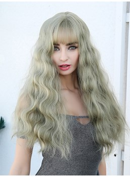 Long Wavy Synthetic Hair With Bangs Light Color Women Wig 26 Inches