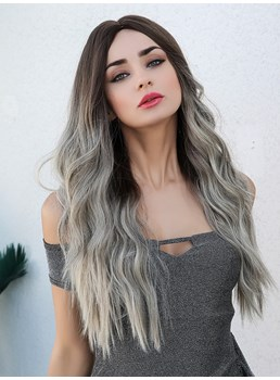 Ombre Hair Long Wavy Synthetic Hair Women Wig 130% Density