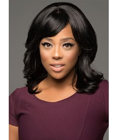 Women's Layered African American Wigs Wavy Human Hair Lace Front Wigs 18Inch