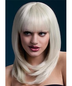 Medium Bob Hairstyles Women's Blonde Straight Synthetic Hair Capless Wigs With Cute Bangs 16Inch