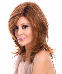 Natural Looking Women's Medium Layered Hairstyles Wavy Human Hair Wigs Lace Front Wigs 16Inch