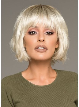 Natural Looking Women's Short Bob Hairstyles Straight Synthetic Hair Wigs With Bangs Capless Wigs 8Inch