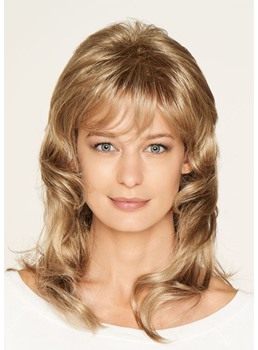 Medium Layered Hairstyles Women's Loose Wave Human Hair Lace Front Wigs With Bangs 18Inch