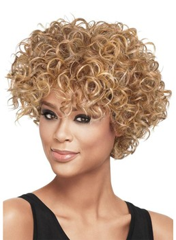 100% Human Hair Wigs For African American Women's Short Curly Lace Front Wigs 10Inch