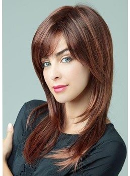 Medium Hairstyles Women's Natural Straight Synthetic Hair Wigs With Bangs Capless Wigs 18Inch