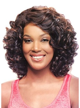 Women's Naturally Curly Hairstyles Kinky Curly Synthetic Hair Capless Wigs 16Inch