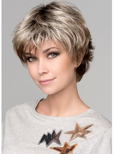 Women's Short Bob Hairstyles Natural Layered Wavy Synthetic Capless Wigs With Bangs 6Inch