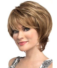 Short Bob Hairstyles Women's Natural Straight Human Hair Wih Bangs Lace Front Cap Wigs 10Inch