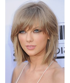 Women's Short Shaggy Layered Hairstyles Straight Synthetic Hair Capless Wigs With Bangs 10Inch