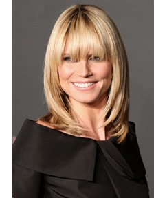 Women's Layered Hairstyles With Bangs Natural Straight Human Hair Wigs Lace Front Wigs 14Inch
