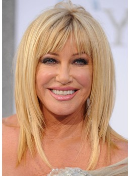 Natural Looking Women's Medium Hairstyles Straight Synthetic Hair Wigs With Bangs Capless Wigs 14Inch