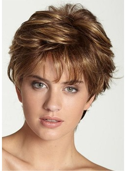 Short Bob Hairstyles Women's Natural Layered Wavy Synthetic Capless Wigs With Bangs 6Inch