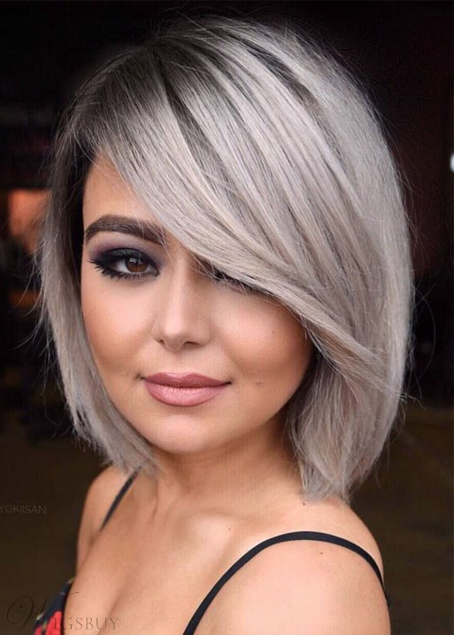Short Bob Hairstyles Women's Natural Straight Synthetic Hair Wigs With Bangs Capless Wigs 8Inch