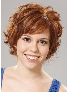 Choppy Hair Cut Human Hair Short Wavy Capless Wigs 10 Inches