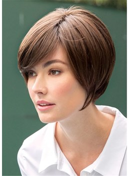 Short Straight Bob With Side Part Bangs Women Wig 12 Inches
