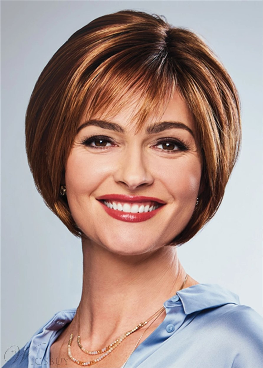 Short Natural Straight Bob Synthetic Hair With Bangs Women Wig 12 Inches