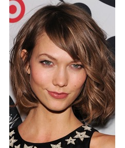 Short Layered Bob Hairstyle Women's Wavy Human Hair Lace Front Wigs With Bangs 12Inch