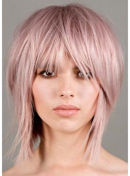 Fashion Women's Short Shaggy Hairstyles Straight Synthetic Hair Capless Wigs With Bangs 10Inch