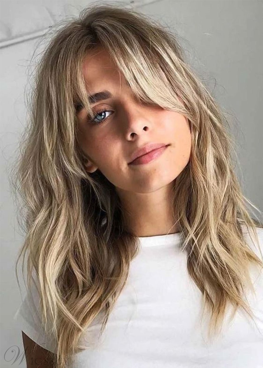 Medium Hairstyles Women's Natural Looking Wavy Synthetic Hair Wigs With Bangs Capless Wigs 16Inch