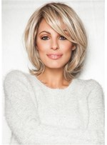 Bob Style Wig Side Part Synthetic Hair Wavy Wig With Bangs 16 Inches