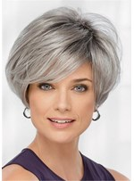 Shaggy Straight Synthetic Hair Capless Wigs For Older Women 10 Inches