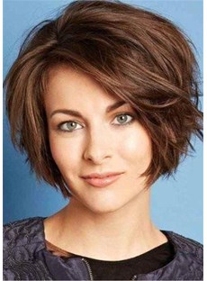 Voluminous Shag Short Wig Human Hair Wavy Women Wig 12 Inches