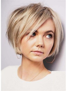 Short Bob Hairstyle Synthetic Hair Natural Straight Women Wig 12 Inches