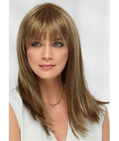 Long Natural Straight Human Hair With Softly Swept Bangs Women Wig 18 Inches
