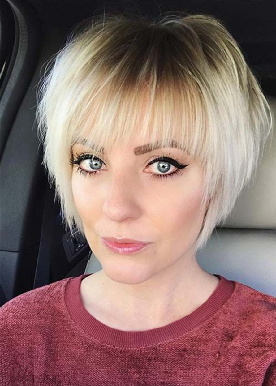 Short Layered Hairstyle Synthetic Wig With Bangs 10 Inches