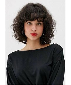 Medium Bob Style Wigs Synthetic Hair Curly Women Wig 16 Inches