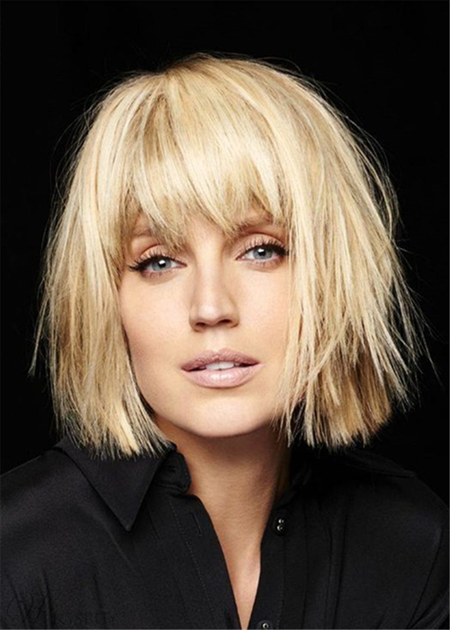 Feminine Layers Bob Style Synthetic Hair Natural Straight Wome Wig 12 Inches