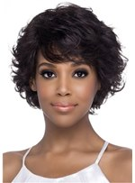 Natural Human Hair Wig With Sweeping Bangs For African American Women 10 Inches