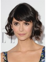 Nina Dobrev Synthetic Celebrity Wigs Wavy Human Hair With Bangs 14 Inches